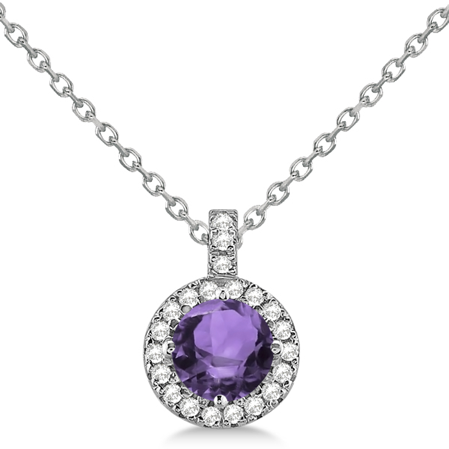 Amethyst & Diamond Halo Pendant Necklace 14k White Gold (1.83ct)