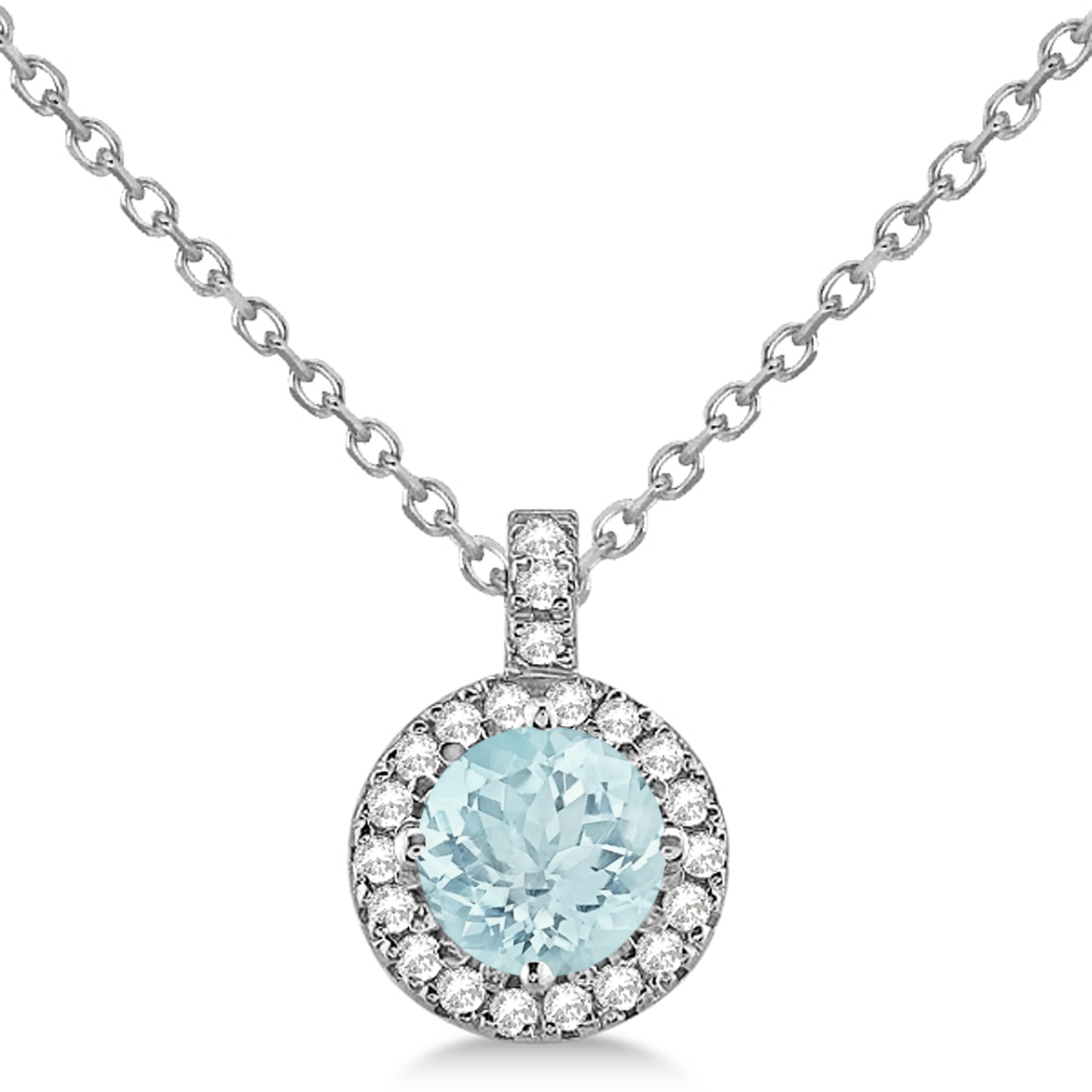 Aquamarine & Diamond Halo Pendant Necklace 14k White Gold (2.25ct)