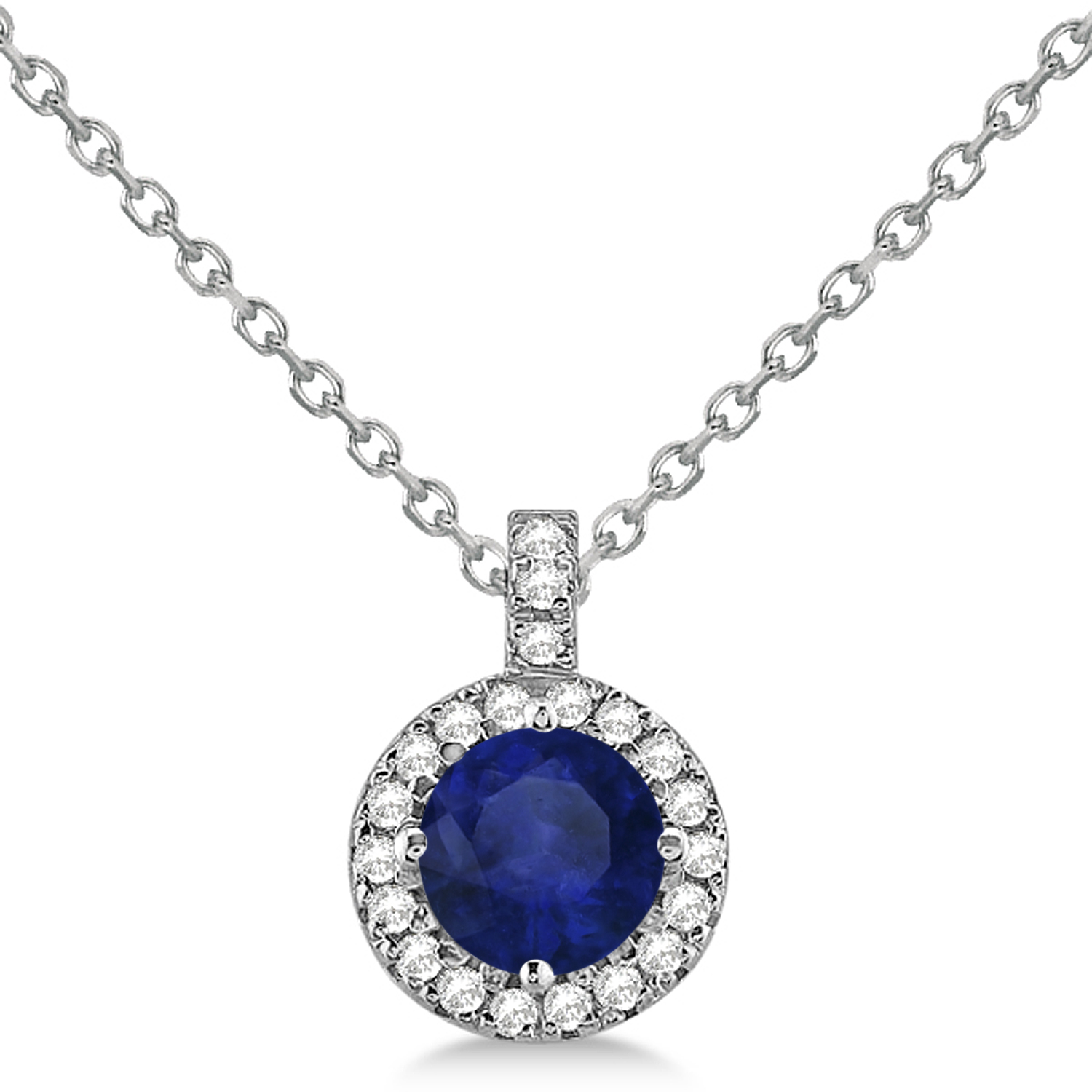 Blue Sapphire & Diamond Halo Pendant Necklace 14k White Gold (2.33ct)