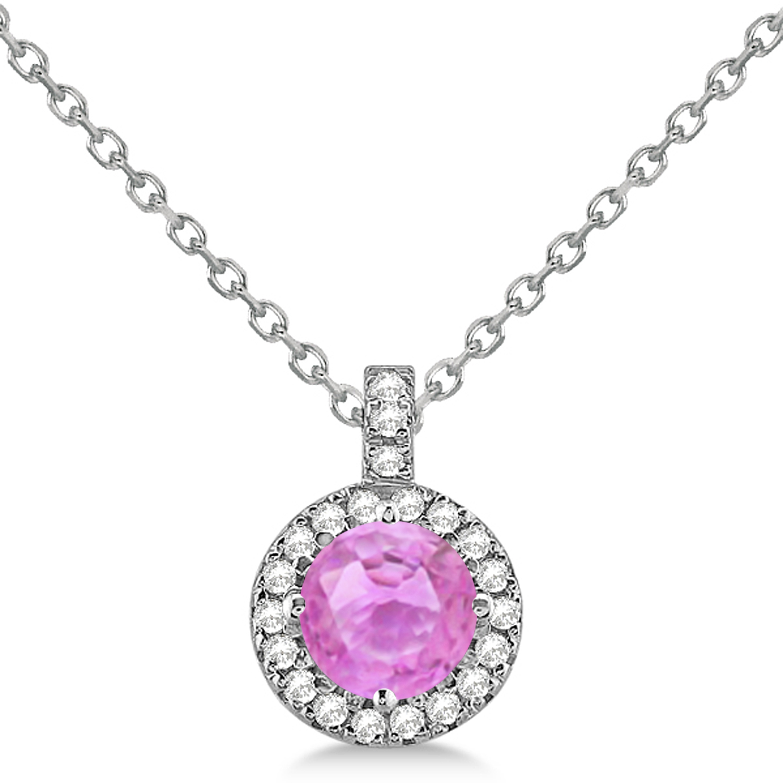 Pink Sapphire & Diamond Halo Pendant Necklace 14k White Gold (2.33ct)
