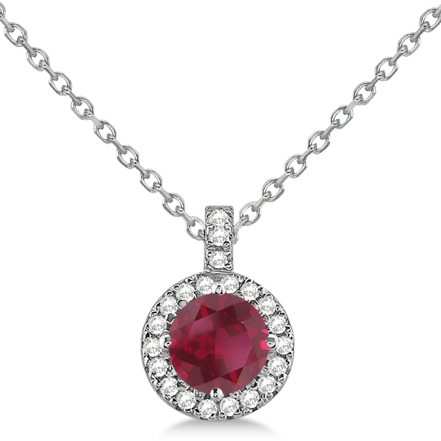 Ruby & Diamond Halo Pendant Necklace 14k White Gold (2.33ct)