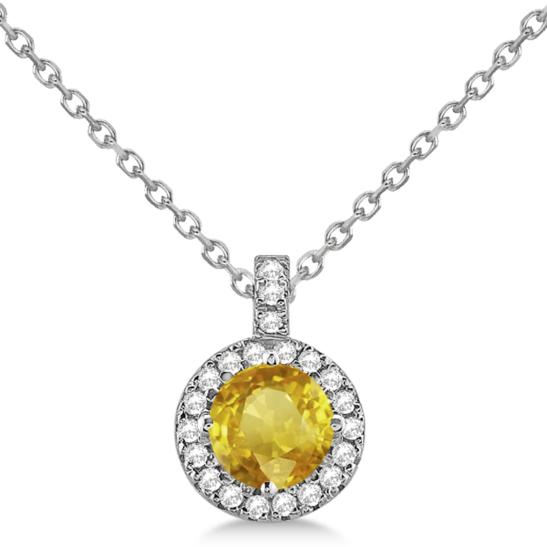 Yellow Sapphire & Diamond Halo Pendant Necklace 14k White Gold (2.33ct)
