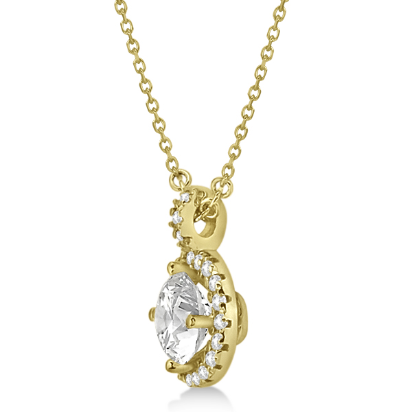 Diamond Halo Pendant Necklace Round Solitaire 14k Yellow Gold (2.00ct)