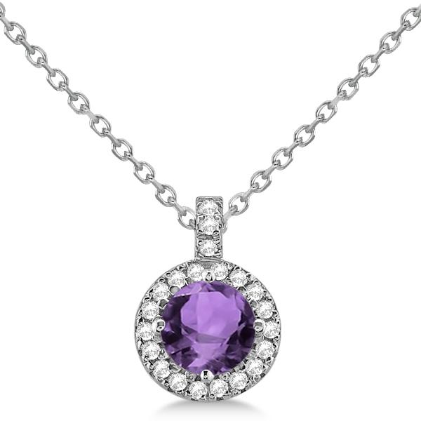 Amethyst & Diamond Halo Pendant Necklace 14k White Gold (0.77ct)