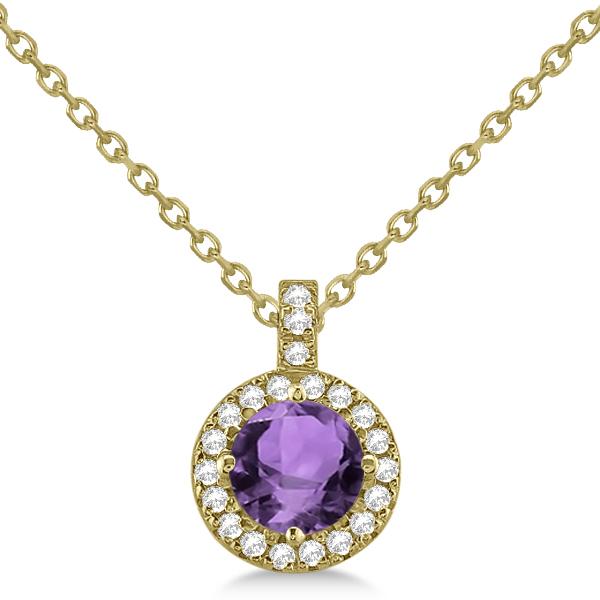 Amethyst & Diamond Halo Pendant Necklace 14k Yellow Gold (0.77ct)