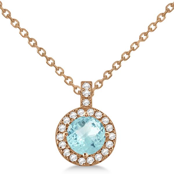 Aquamarine & Diamond Halo Pendant Necklace 14k Rose Gold (0.82ct)