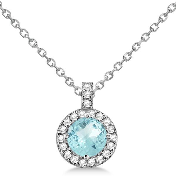 Aquamarine & Diamond Halo Pendant Necklace 14k White Gold (0.82ct)