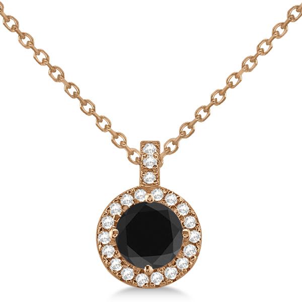 Black Diamond & Diamond Halo Pendant Necklace Round  14k Rose Gold (1.00ct)