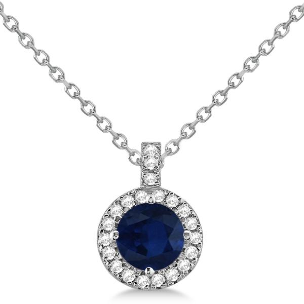 Blue Sapphire & Diamond Halo Pendant Necklace 14k White Gold (1.07ct)