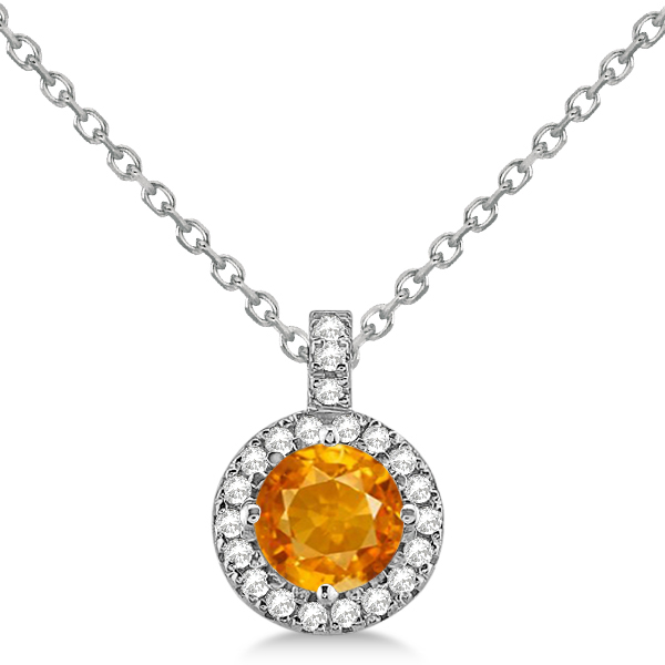 Citrine & Diamond Halo Pendant Necklace 14k White Gold (0.77ct)