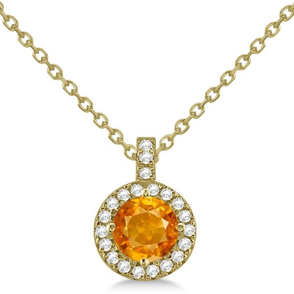 Citrine & Diamond Halo Pendant Necklace 14k Yellow Gold (0.77ct)