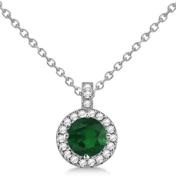 Emerald & Diamond Halo Pendant Necklace 14k White Gold (0.90ct)