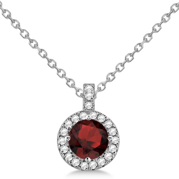 Garnet & Diamond Halo Pendant Necklace 14k White Gold (1.01ct)