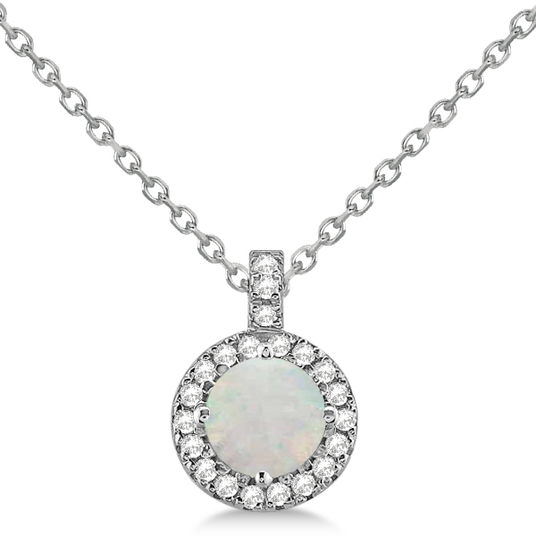 Opal & Diamond Halo Pendant Necklace 14k White Gold (0.68ct)