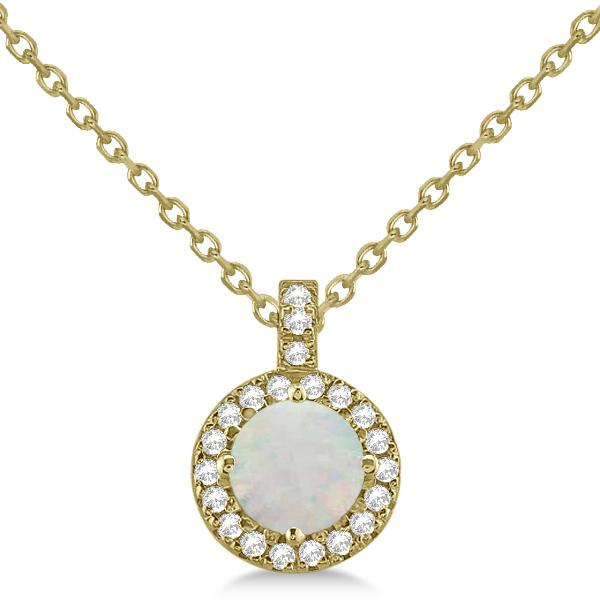 Opal & Diamond Halo Pendant Necklace 14k Yellow Gold (0.68ct)