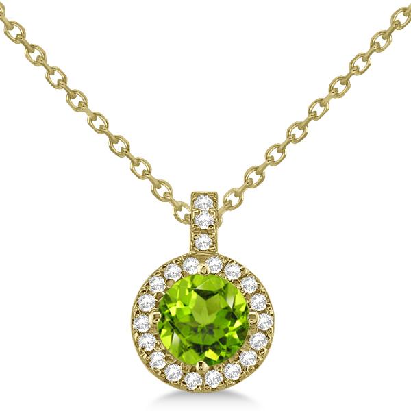 Peridot & Diamond Halo Pendant Necklace 14k Yellow Gold (0.87ct)