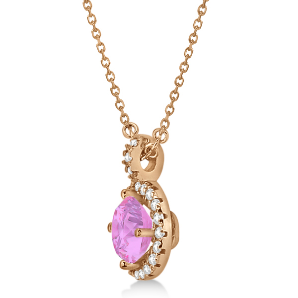 Pink Sapphire & Diamond Halo Pendant Necklace 14k Rose Gold (1.07ct)