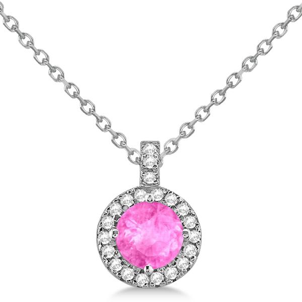 Pink Sapphire & Diamond Halo Pendant Necklace 14k White Gold (1.07ct)