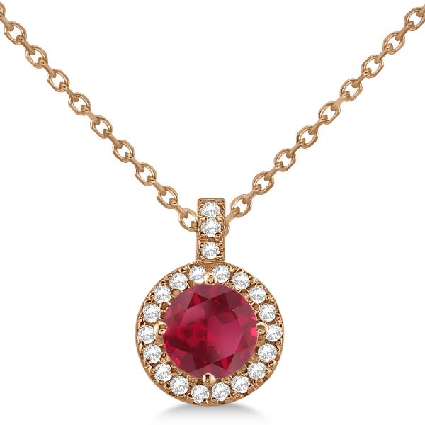 Ruby & Diamond Halo Pendant Necklace 14k Rose Gold (1.07ct)