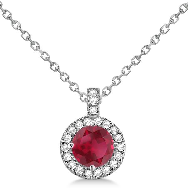 Ruby & Diamond Halo Pendant Necklace 14k White Gold (1.07ct)