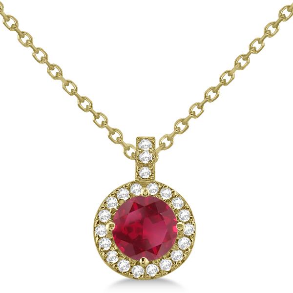 Ruby & Diamond Halo Pendant Necklace 14k Yellow Gold (1.07ct)