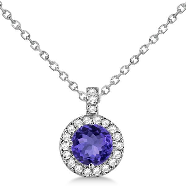 Tanzanite & Diamond Halo Pendant Necklace 14k White Gold (1.07ct)