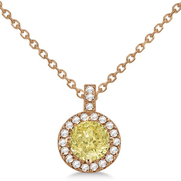 Yellow Diamond & Diamond Halo Pendant Necklace Round  14k Rose Gold (1.00ct)