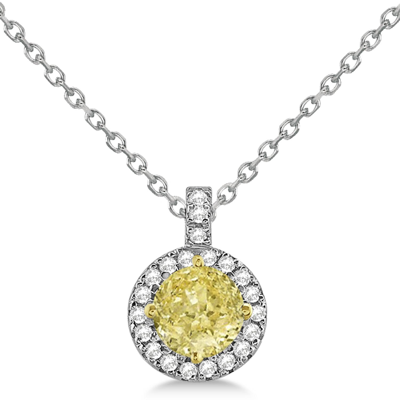 Allurez 14kt White Gold Round Diamond & Emerald Halo Pendant Necklace - 16 Inches fUFg7