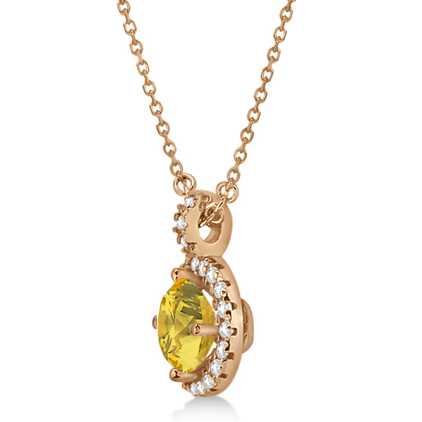 Yellow Sapphire & Diamond Halo Pendant Necklace 14k Rose Gold (1.07ct)