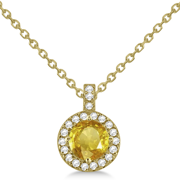 Yellow Sapphire & Diamond Halo Pendant Necklace 14k Yellow Gold (1.07ct)