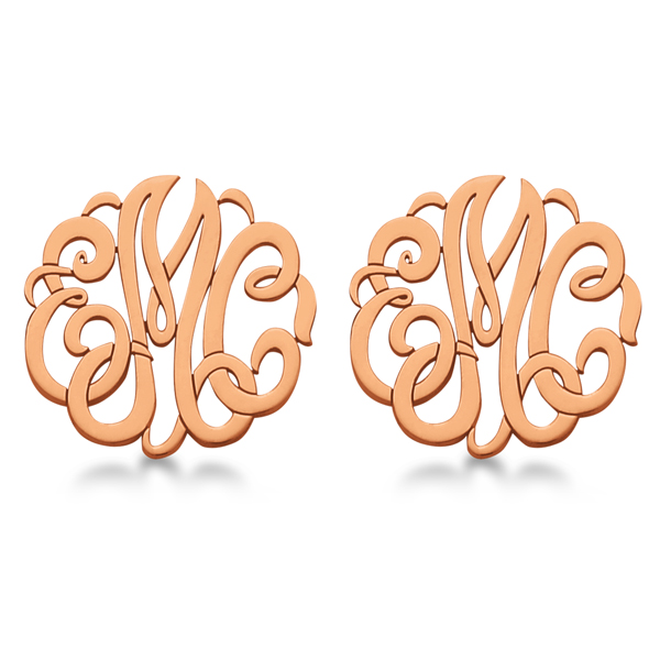 Personalized Monogram Post-Back Stud Earrings in 14k Rose Gold