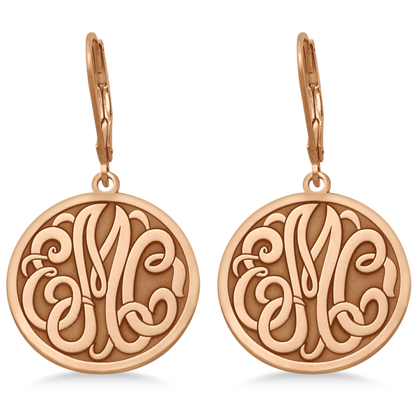 Stylized Initial Circle Monogram Earrings in 14k Rose Gold