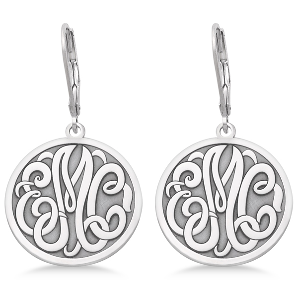 Stylized Initial Circle Monogram Earrings in 14k White Gold