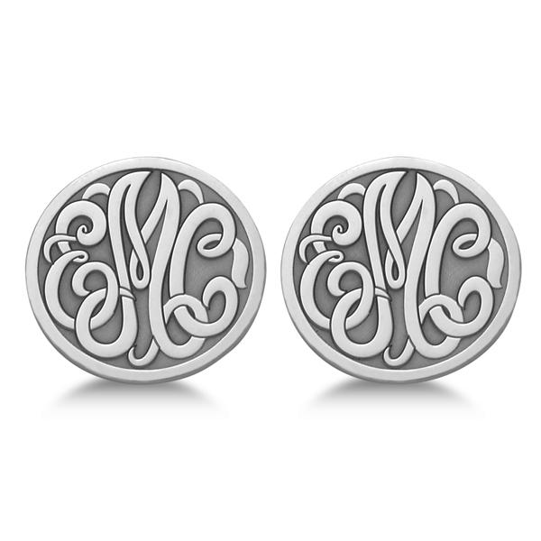 Custom 3 Initial Monogram Post-back Circle Earrings in 14k White Gold