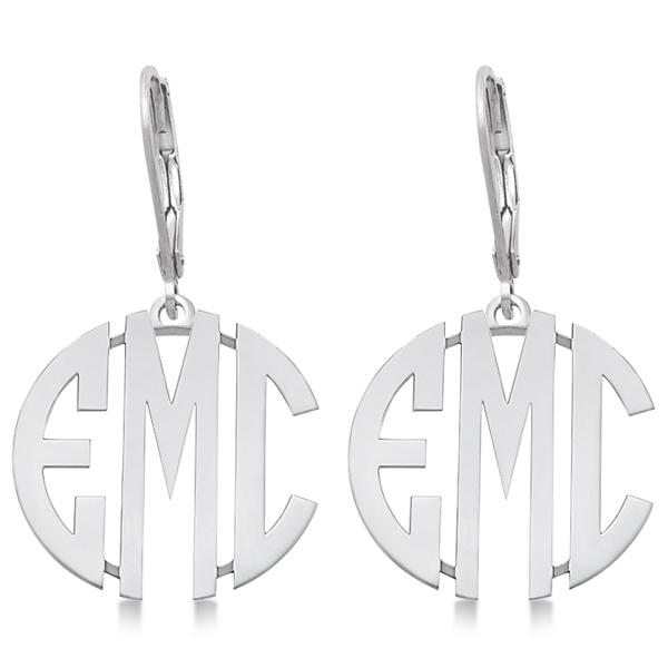 Bold 3 Initials Monogram Earrings in 14k White Gold