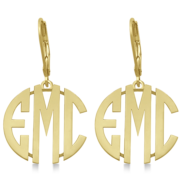 Bold 3 Initials Monogram Earrings in 14k Yellow Gold