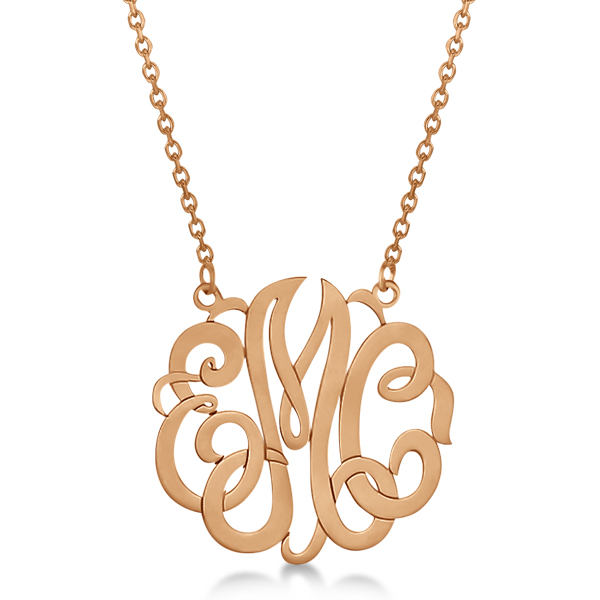 Personalized Monogram Pendant Necklace in 14k Rose Gold