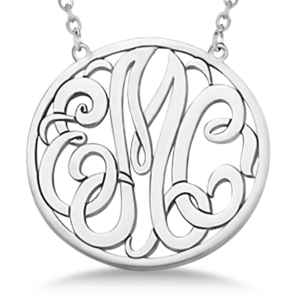 custom initial circle monogram pendant necklace 14k white. Black Bedroom Furniture Sets. Home Design Ideas