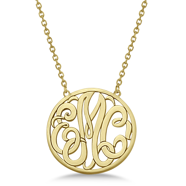 Custom Initial Circle Monogram Pendant Necklace in 14k Yellow Gold