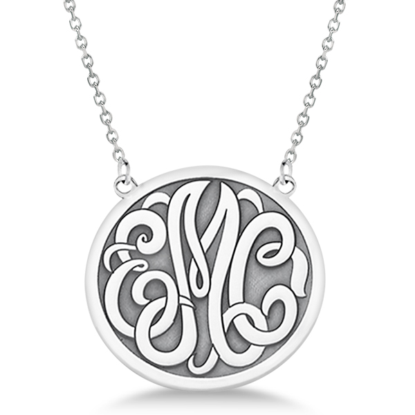 Engraved Initial Circle Monogram Pendant Necklace in 14k White Gold