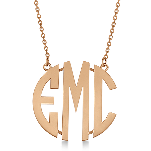 Bold-Face Custom Initial Monogram Pendant Necklace in 14k Rose Gold
