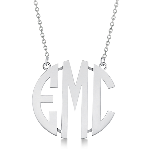 Bold-Face Custom Initial Monogram Pendant Necklace in Sterling Silver