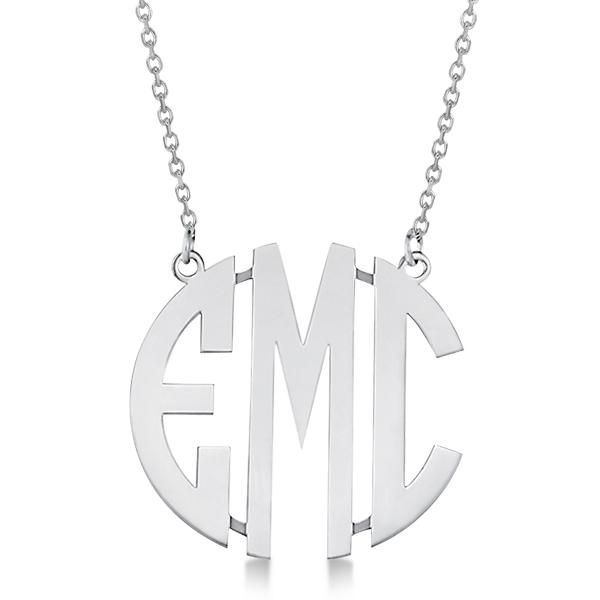 bold face custom initial monogram pendant necklace 14k. Black Bedroom Furniture Sets. Home Design Ideas