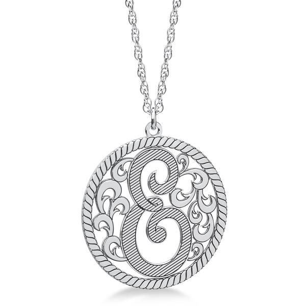 Custom Single Initial Monogram Pendant Necklace 14k White Gold