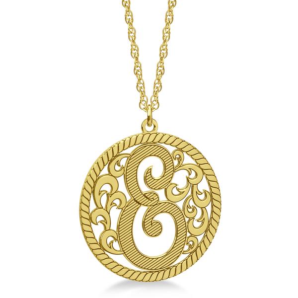 Custom Single Initial Monogram Pendant Necklace 14k Yellow Gold