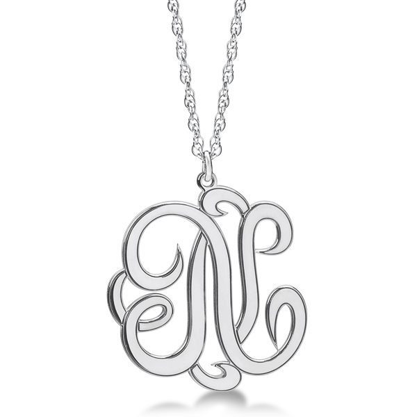 Personalized Single Initial Cursive Monogram Necklace 14k White Gold