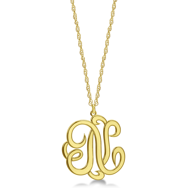 Personalized Single Initial Cursive Monogram Necklace 14k Yellow Gold