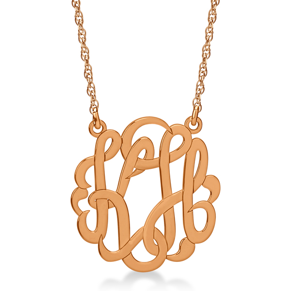 Personalized Double Initial Monogram Pendant in 14k Rose Gold