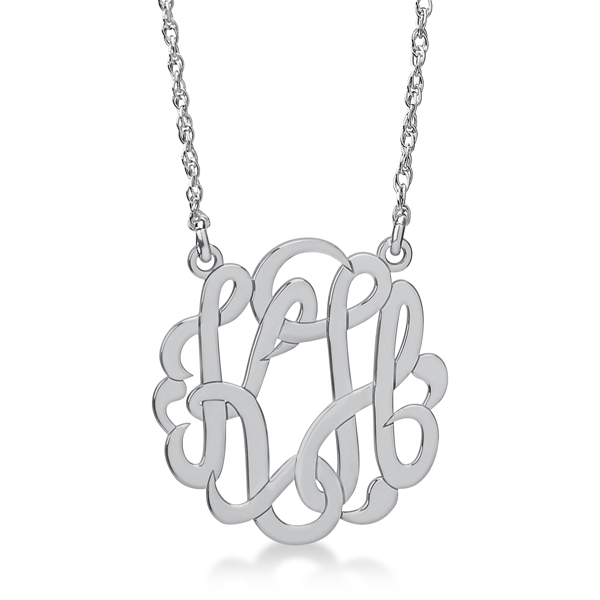 Personalized Double Initial Monogram Pendant in 14k White Gold