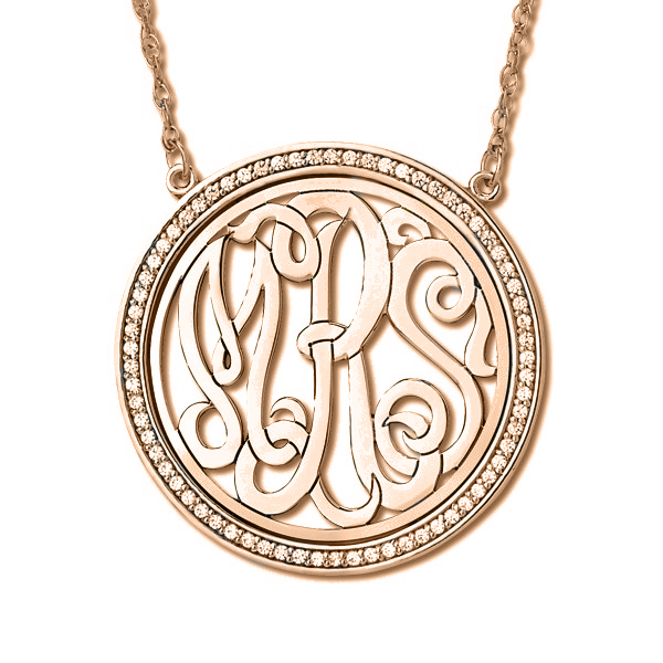 Monogram Initial Necklace with Diamond Accents 14k Rose Gold (0.34ct)